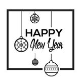 Happy new year poster. With christmas balls, Vector illustration Royalty Free Stock Photo