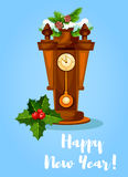 Happy New Year poster. Holly, pendulum clock. New Year vector greeting poster, card with retro wooden pendulum clock with chimes, holly bow ornament, pine Royalty Free Stock Image