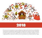 Happy New Year 2018 poster with Husky dog in festive warm clothes, in wooden house with Christmas decorations and winter. Sledges isolated cartoon flat vector Royalty Free Stock Images