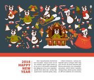 Happy New Year 2018 poster with Husky dog in festive warm clothes, in wooden house with Christmas decorations and winter. Sledges isolated cartoon flat vector Stock Image