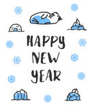 Happy new year poster with lettering. Funny doodle walrus Stock Photo