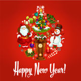 Happy New Year poster. Ornament ball symbol Royalty Free Stock Photos
