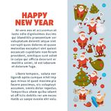 Happy New Year 2018 poster with Santa Clauses in traditional costume, sport suit and swimming trunks, snowman in hat. Decorated Christmas tree, gift boxes with Royalty Free Stock Images