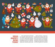 Happy New Year 2018 poster with Santa Clauses in traditional costume, sport suit and swimming trunks, snowman in hat. Decorated Christmas tree, gift boxes with Stock Photos