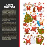 Happy New Year 2018 poster with Santa Clauses in traditional costume, sport suit and swimming trunks, snowman in hat. Decorated Christmas tree, gift boxes with Royalty Free Stock Photos