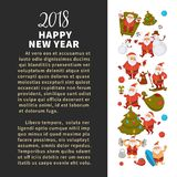 Happy New Year 2018 poster with Santa Clauses in traditional costume, sport suit and swimming trunks, snowman in hat. Decorated Christmas tree, gift boxes with Stock Photo