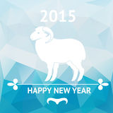 Happy new year 2015 poster with sheep. Vector Happy new year 2015, Chinese astrological year of sheep. Geometric background poster Stock Photos