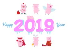 Happy new 2019 year poster with sleeping pig character on the frozen numbers flat style design vector illustration. stock illustration