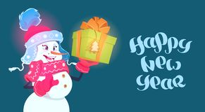 Happy New Year Poster Snowman Girl Hold Gift Box Winter Holidays Concept Stock Image
