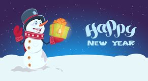 Happy New Year Poster Snowman Hold Gift Box Winter Holidays Concept Royalty Free Stock Image