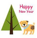 Happy New Year Poster with Spruce Tree and Dog. Happy New year poster with abstract tree, spruce plant icon with brown trunk, and smiling dog in blue collar Stock Photography