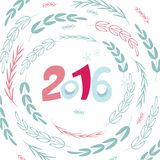Happy New 2016 year poster template. Greeting card background. Pink and blue decorative holiday backdrop. New Years party invitation with round botanical stock illustration