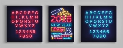 Happy New Year 2018 Poster Vector Illustration. Neon sign, luminous banner. Brochure design in a neon-style invitation. Template. Postcard, flyer, card, party royalty free illustration