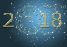 Happy New Year 2018. New year premise with clock and figures 2018 Five minutes to New Year`s Eve celebration vector illustration