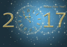 Happy New Year 2017. New year premise with clock and figures 2017 Five minutes to New Year's Eve celebration stock illustration
