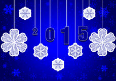Happy New Year 2015. The premise of the New Year 2015.Horizontal illustration with dark-blue background and white paper snowflakes royalty free illustration