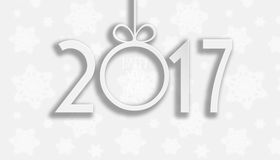 Happy New Year 2017. A prerequisite for your rogulek and greeting card. Paper digits 2017 with shadow on a white background with snowflakes royalty free illustration