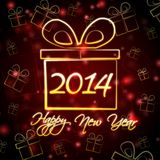 Happy New Year 2014 in present box Royalty Free Stock Images