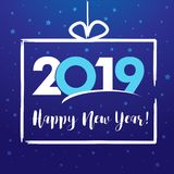 2019 Happy New Year, present greeting card royalty free illustration