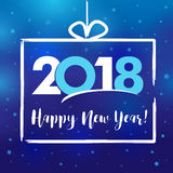 2018 Happy New Year present. Modern gift frame 2018 happy new year vector card. Holiday greeting xmas celebration Stock Photo