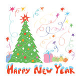 Happy new year when presented with gifts Royalty Free Stock Photography