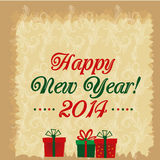 Happy new year with presents. Three colored gifts for new year with some text in a textured background royalty free illustration