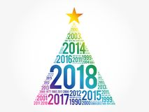 2018 Happy New Year and previous years. Word cloud greeting card in the shape of a christmas tree Royalty Free Stock Photography
