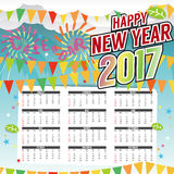 Happy New Year 2017 Printable Calendar Starts Sunday. Happy New Year 2017 Printable Calendar Starts Sunday Vector Illustration Stock Images