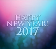 2017 Happy New Year. purple and blue bokeh lights. Background Stock Photos