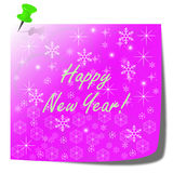 Happy new year purple note paper card. Christmas illustration concept vector illustration
