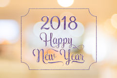 Happy New year 2018 purple sparkling glitter word with golden fr Royalty Free Stock Images