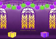 Happy New Year in purple and yellow stock illustration