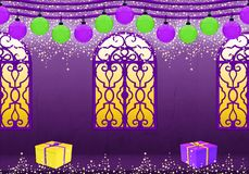 Happy New Year in purple and yellow vector illustration