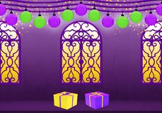 Happy New Year in purple and yellow royalty free illustration