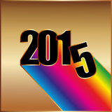Happy New year 2015 with rainbow. On gold background Stock Image