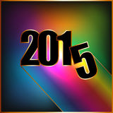 Happy New year 2015 with rainbow. And golden borders Royalty Free Stock Images