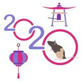Happy new year Rat symbol of 2020 Chinese calendar. Vector. Happy new year. Vector illustration with 2020 year numbers and rat. Rat zodiac sign, symbol of 2020 stock illustration