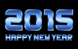 Happy new year 2015 - rectangular beveled blue metal letters. Happy new year 2015 - rectangular beveled blue metal font, blurry reflections Stock Photography