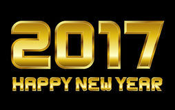 Happy new year 2017 - rectangular beveled golden font. Vector Royalty Free Stock Image