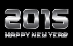 Happy new year 2015 - rectangular beveled metal letters. Happy new year 2015 - rectangular beveled metal font, vector, blurry reflections Royalty Free Stock Photo