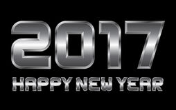 Happy new year 2017 - rectangular beveled metal letters. Vector, blurry reflections Stock Photo