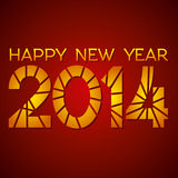 Happy new year 2014. Red background Royalty Free Stock Image