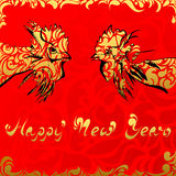 Happy New Year on red background abstraction. The phrase Happy New Year roosters on a red background gold pattern Khokhloma Stock Image