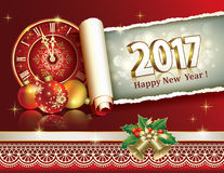 Happy New Year 2017. On a red background with clock Royalty Free Stock Photo
