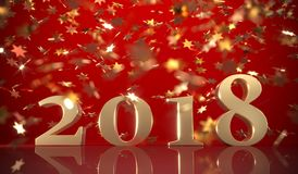 Happy New 2018 Year On Red Background. With Falling Gold Shiny Confetti 3D Rendering Stock Photo