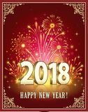 Happy New Year 2018 on a red background with fireworks Royalty Free Stock Photography