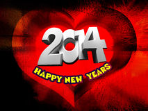 Happy New Year 2014. Red background in the form of heart stock illustration