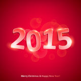 Happy new year 2015 on red background. Happy new year 2015 glowing glass number on red background Royalty Free Stock Photo
