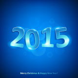 Happy new year 2015 on red background. Happy new year 2015 glowing glass number on blue background Stock Images