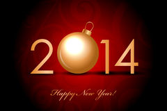 2014 Happy New Year red  background with gold chri Royalty Free Stock Images